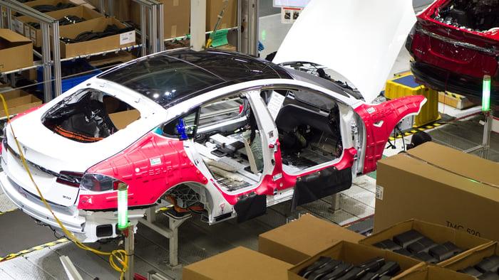 Tesla car on production line.