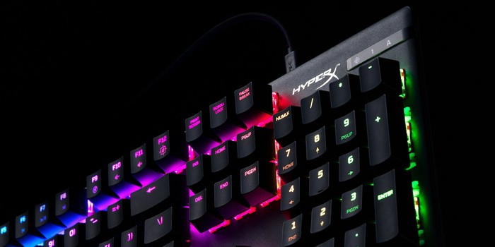 A close-up photo of a HyperX Alloy Origins gaming keyboard.