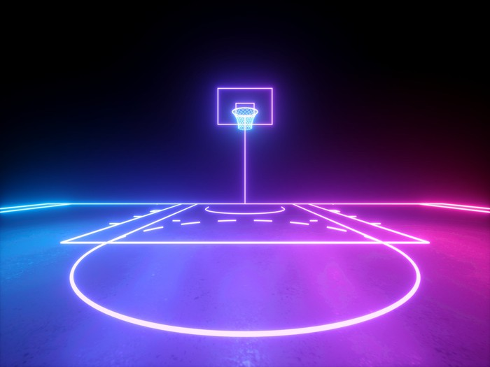 Picture of basketball court in bright colors.