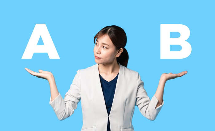 Shrugging woman making a decision, symbolized by A and B in the air above her