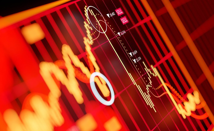 A stock chart on a red background.