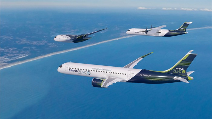 Artist rendering of three Airbus designs in flight.