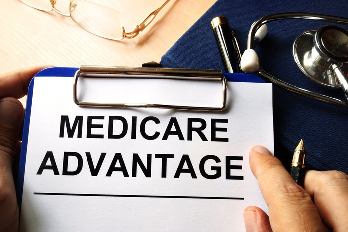 """A doctor's clipboard with a page titled """"Medicare Advantage""""."""