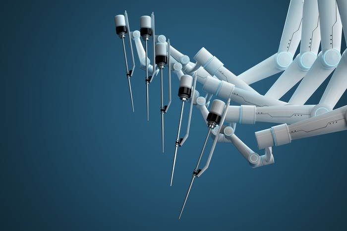Several arms of a surgical robot.