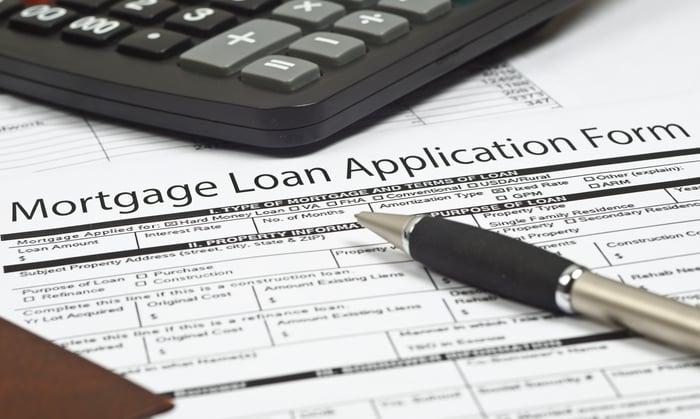 Mortgage application form on desk