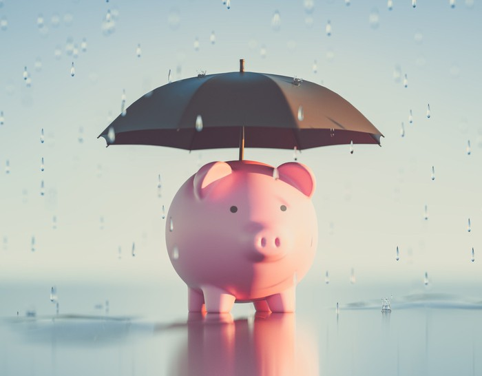 Piggy bank protected from rain by an umbrella