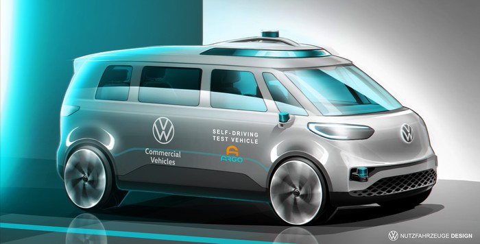 A rendering of VW's self-driving ID Buzz minivan.