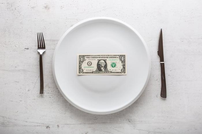 Dollar bill on a plate