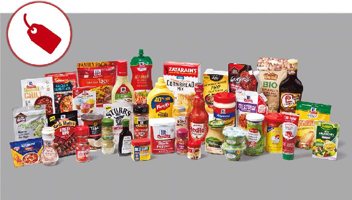 McCormick consumer brands including seasonings, dressings and sauces.