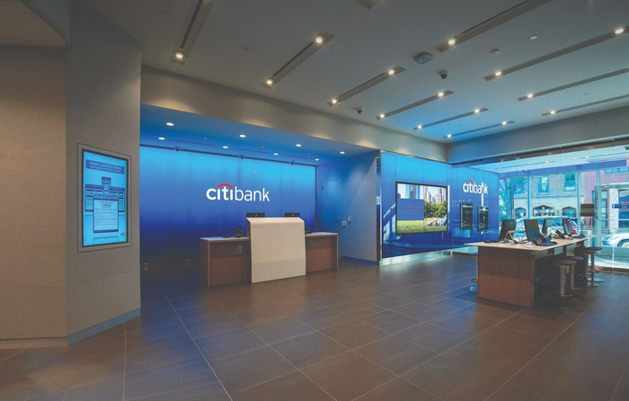 Picture of the inside of a Citibank branch.
