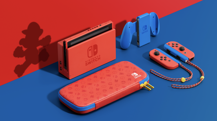 A blue and red Nintendo Switch console, and its accessories.