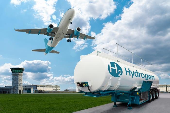The aircraft flies over an H2 tanker.