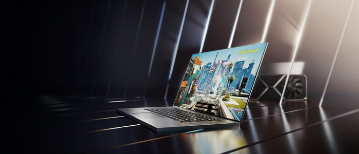 A video game running on an NVIDIA powered gaming laptop