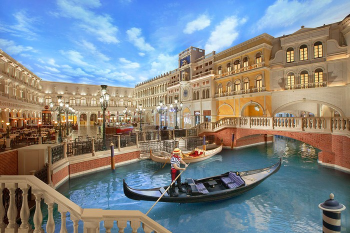 Interior of the Venetian with a gondolier