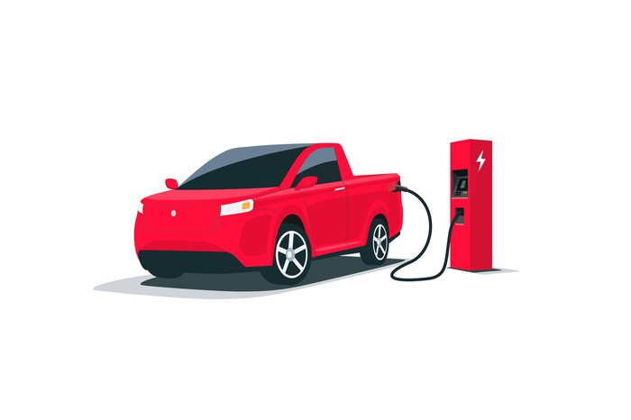 Illustration of an electric pickup getting a charge.