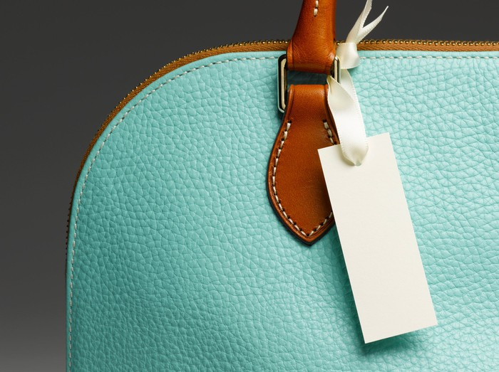 A luxury handbag in pale green leather.