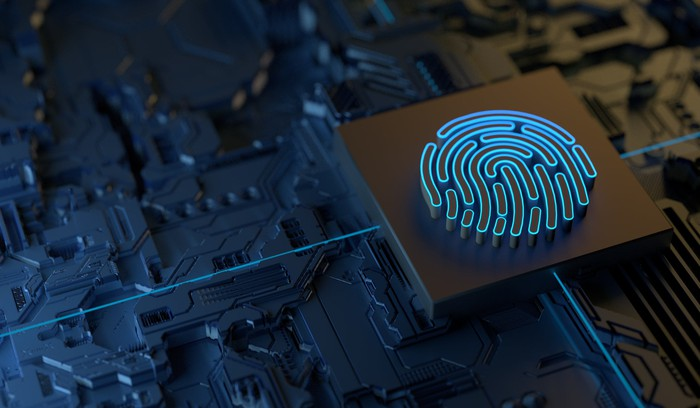 Finger print on a chip representing security.
