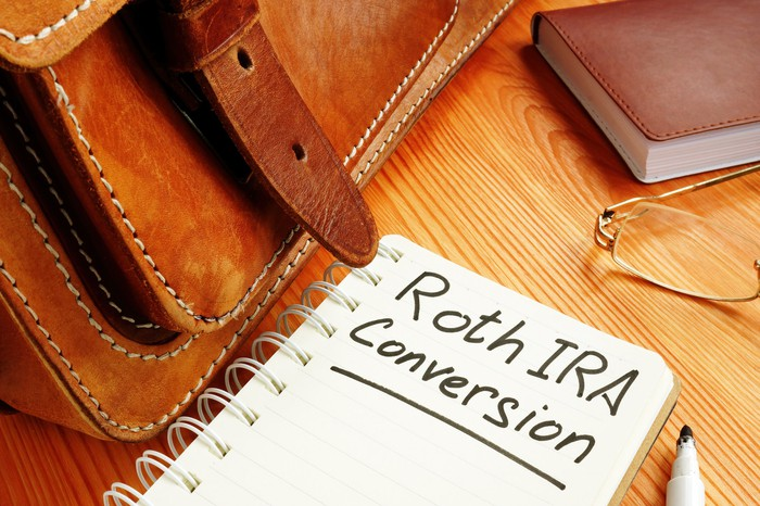 Notebook with the words Roth IRA Conversion written in marker