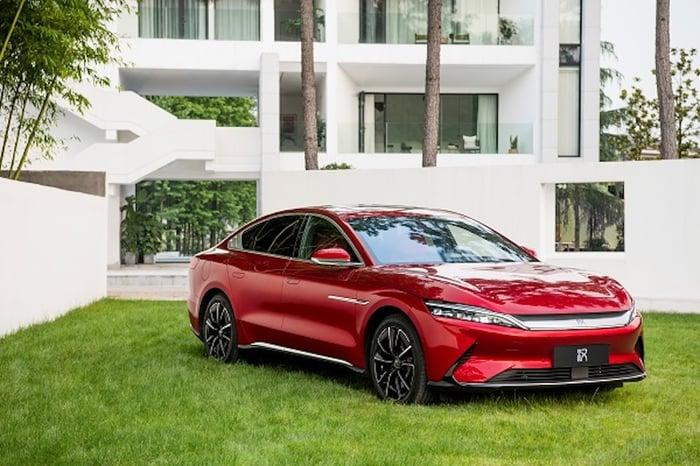 red BYD Han luxury electric sedan