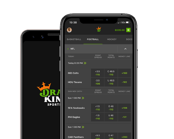 DraftKings app on a mobile device.