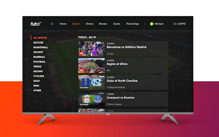 fuboTV app displayed on a TV