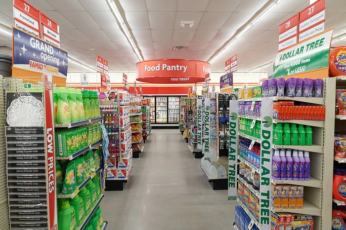 Interior of combined Dollar Tree-Family Dollar store