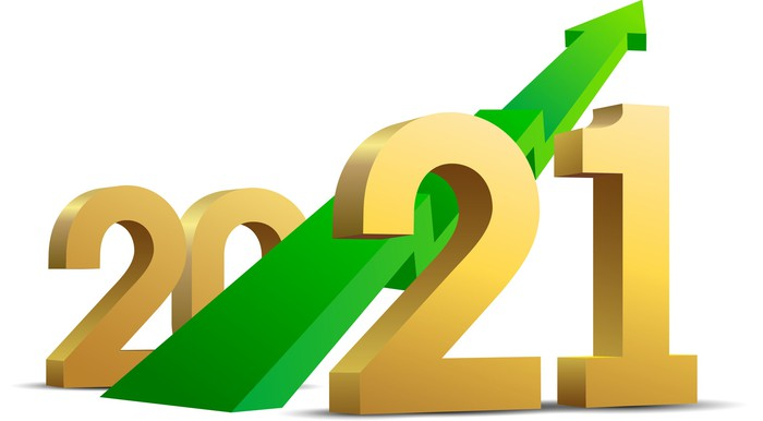 Green stock arrow shooting up among the numerals 2021