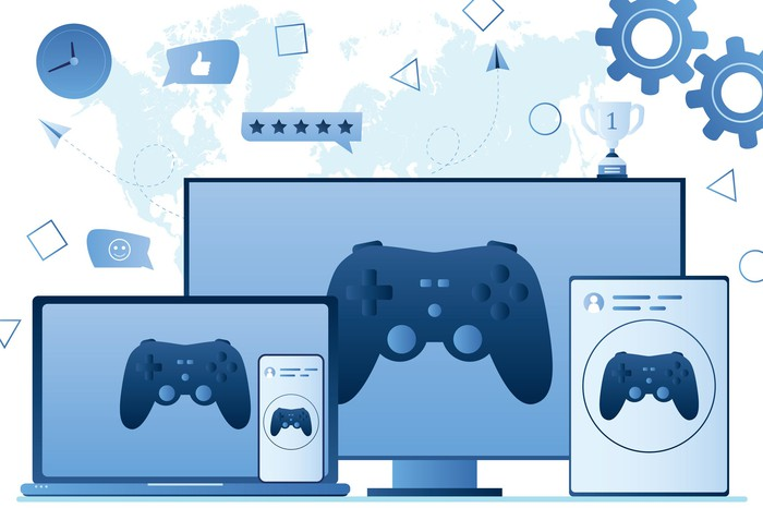 A video game controller displayed across different computing devices.