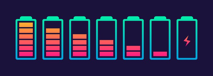 Draining battery icons.