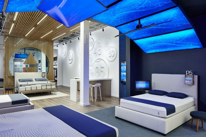 Sleep Number retail showroom with beds under a canopy of bright blue panels.