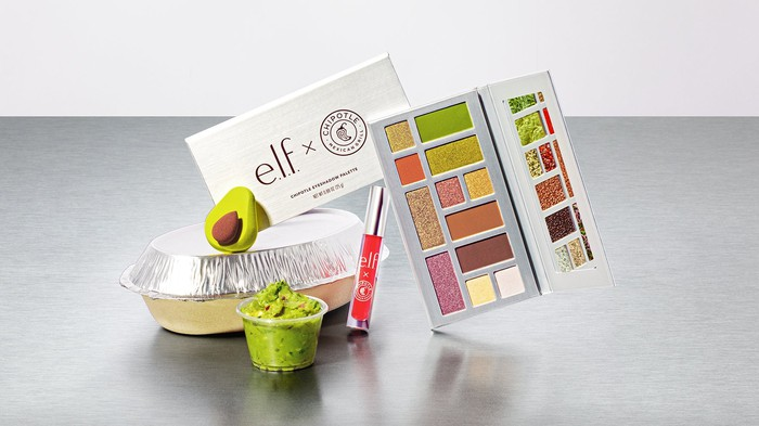 Part of the e.l.f. x Chipotle collection, including eyeshadow colors and an avocado facial sponge.