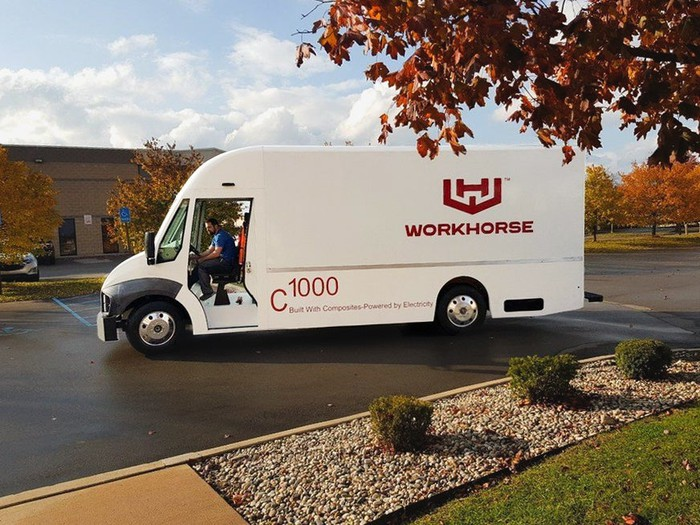 white Workhorse Group C-1000 electric delivery van in parking lot