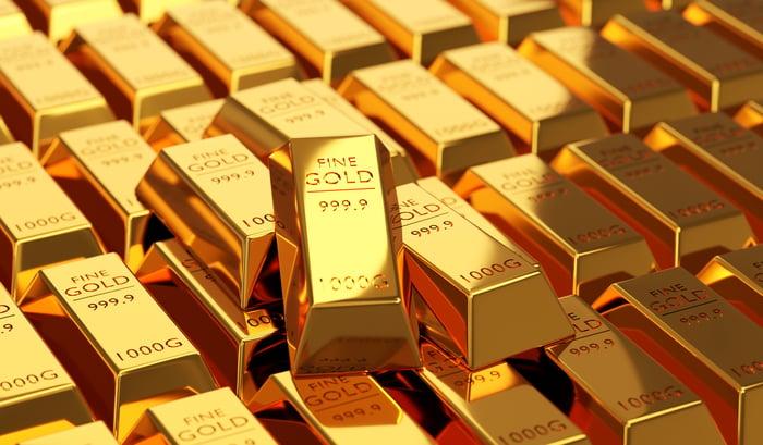 Stacks of gold bars.