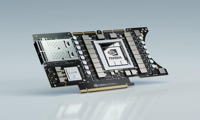 NVIDIA EGX A100 converged accelerator, featuring Mellanox adapter and NVIDIA GPUs.