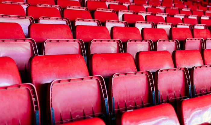 A group of empty seats.