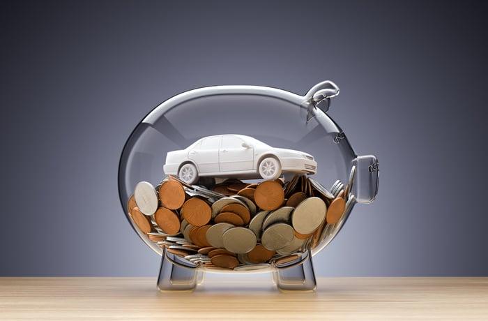 A model car inside a transparent piggy bank, atop a pile of coins.