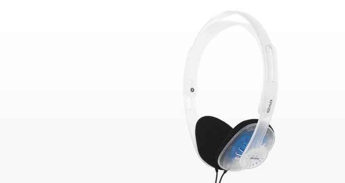 A pair of Koss headphones.