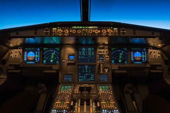 An airplane cockpit.