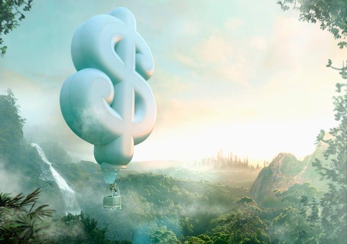 Une personne voyageant dans un ballon à air en forme de signe dollar.