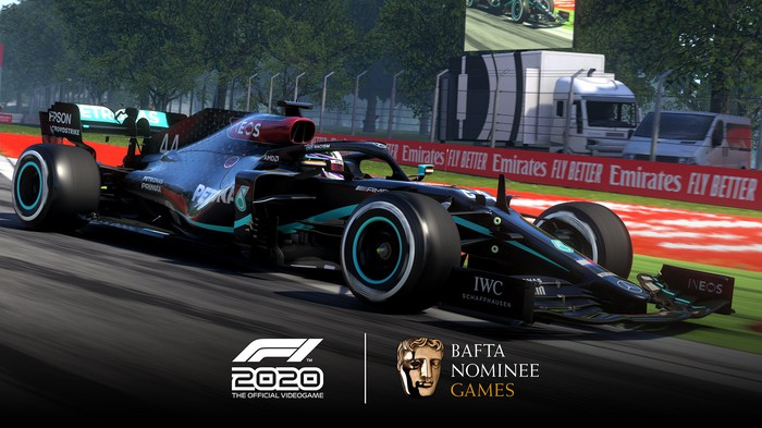 A screenshot shows one of the Formula 1 vehicles featured in the  F1 2020 videogame by Codemasters