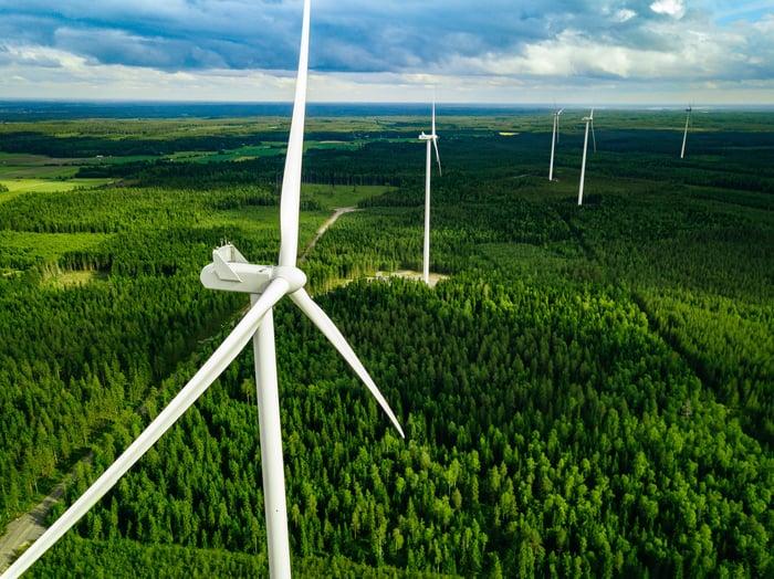 Wind power turbines outside
