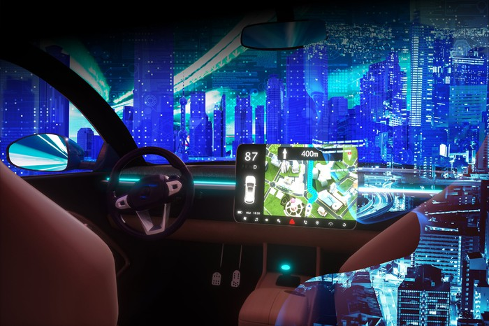 electric vehicle cockpit with screen showing 400m distance and digital city outside