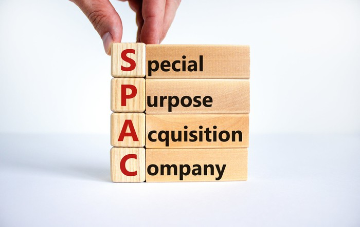 Wooden blocks display the words special purpose acquisition company.