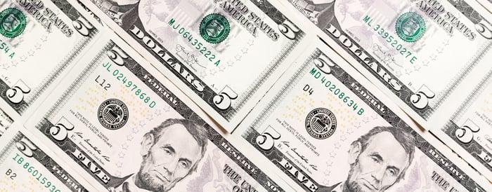 A sheet of $5 bills.