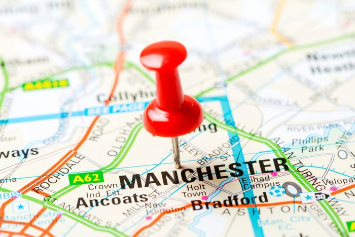 Map of Manchester, U.K., with a red pin in it