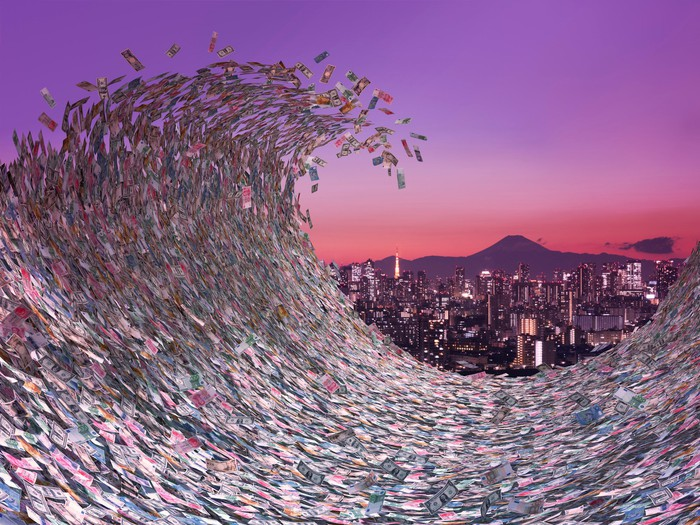 Tidal wave of cash with city in the background.