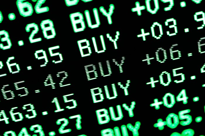 digital screen showing a list of stock buys in green