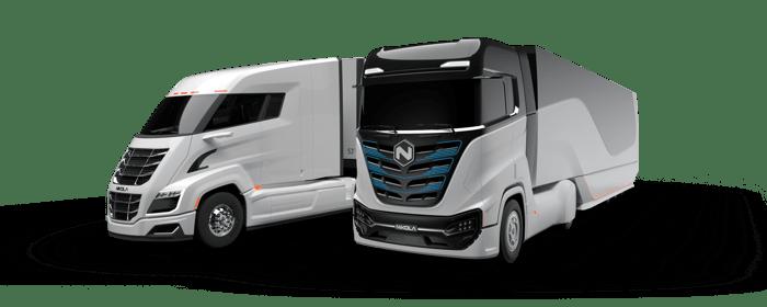 Nikola Tre and Two semi trucks
