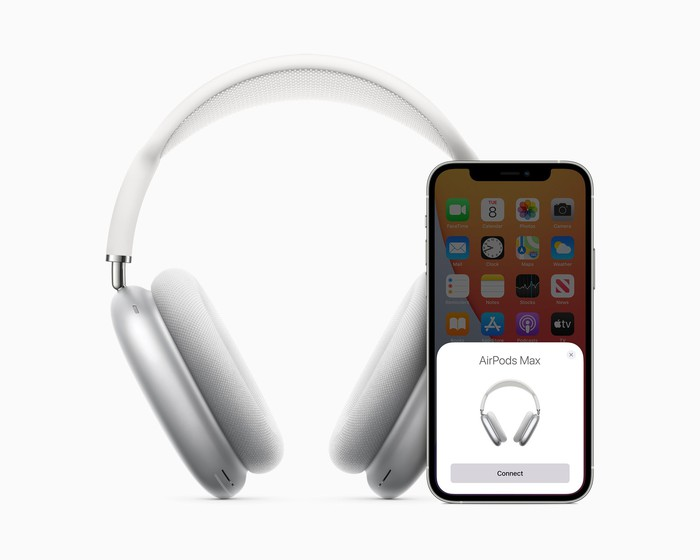 AirPods Max headphones connecting wirelessly to an iPhone
