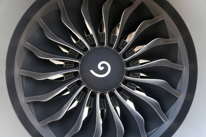 Front shot of a GE aircraft engine.